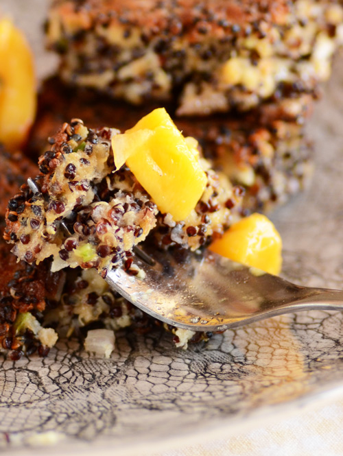 Quinoa-patties-on-fork-with